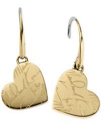 Michael Kors - Metallic Gold-tone Script Heart Drop Earrings - Lyst
