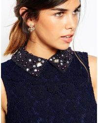 ASOS | Blue Embellished Collar Lace Crop Top Mini Skater Dress - Navy | Lyst
