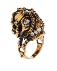 Alexander McQueen | Metallic Harness Skull Ring | Lyst