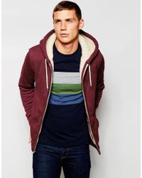 Hollister | Red Borg Lined Zip Through Hoodie for Men | Lyst