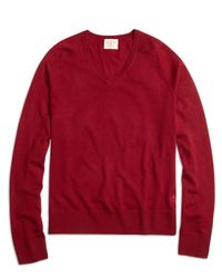 Brooks Brothers | Red Merino Wool V-neck Sweater for Men | Lyst