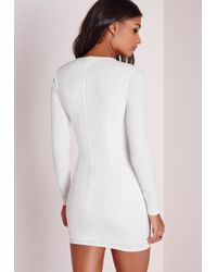 Missguided - Long Sleeve Harness Detail Bodycon Dress White - Lyst
