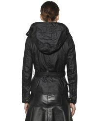 Belstaff | Black Trackmaster Hooded Waxed Cotton Jacket | Lyst