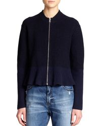 McQ | Blue Wool Peplum Jacket | Lyst