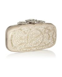 Oscar de la Renta - Natural Crown Goa Swarovski Crystalembellished Satin Clutch - Lyst