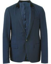 Lanvin - Blue Velvet Collar Blazer for Men - Lyst