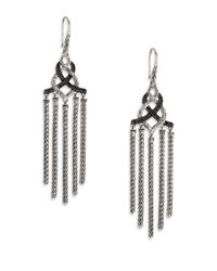 John Hardy | Metallic Classic Chain Black Sapphire & Sterling Silver Knot Chandelier Earrings | Lyst