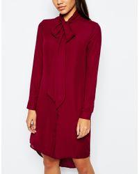 Missguided - Purple Tie Neck Shirt Dress - Lyst