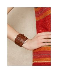 Ralph Lauren - Brown Tooled-Leather Cuff - Lyst