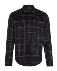 A.P.C. | Blue Navy Check Wool Overshirt for Men | Lyst
