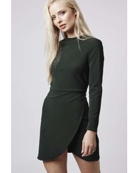 TOPSHOP - Green Clean Wrap Dress - Lyst