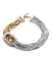 Fallon | Metallic Liquid Gold Knot Necklace | Lyst