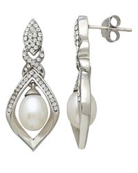 Lord & Taylor | White Sterling Silver Fresh Water Pearl And Crystal Earrings | Lyst