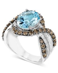 Le Vian - Blue Aquamarine (3-3/4 Ct. T.w.) And White And Chocolate Diamond (1/8 Ct. T.w.) Ring - Lyst