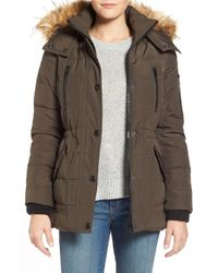 Guess - Green 'expedition' Short Quilted Parka With Faux Fur Trim - Lyst