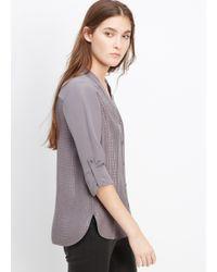 VINCE | Gray Silk Croc Jacquard Blouse | Lyst