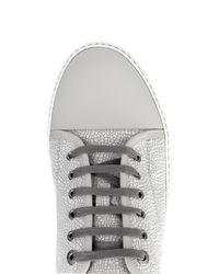 Lanvin - Gray Lizard-Effect Leather Sneakers for Men - Lyst