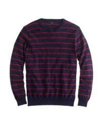 J.Crew   Blue Cotton Crewneck Sweater in Navy Stripe for Men   Lyst