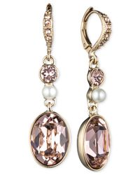 Givenchy | Metallic Gold-tone Vintage Rose And Imitation Pearl Drop Earrings | Lyst