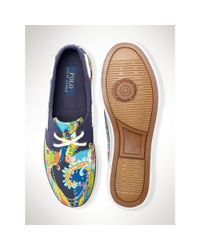 Polo Ralph Lauren - Blue Paisley Lander Boat Shoe for Men - Lyst
