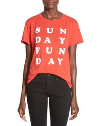 Project Social T | Red 'sunday Funday' High/low Graphic Tee | Lyst
