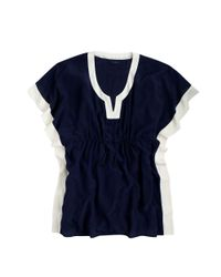 J.Crew - Blue Colorblock Silk Tunic - Lyst