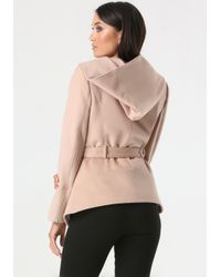 Bebe | Pink Asymmetric Zip Hooded Coat | Lyst