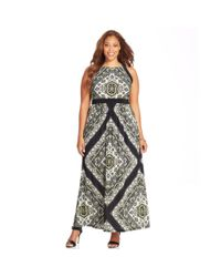 INC International Concepts - Black Plus Size Printed Halter Maxi Dress - Lyst