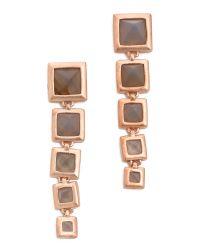 Eddie Borgo - Metallic Graduated Pyramid Drop Earrings Matte Grey Agate - Lyst