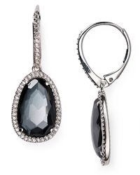 Nadri | Metallic Sterling Silver And Hematite Drop Earrings | Lyst