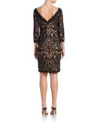 Tadashi Shoji | Black Embroidered V-back Dress | Lyst