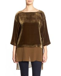 Eileen Fisher | Brown Bateau Neck Velvet Top | Lyst