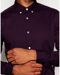 ASOS - Smart Shirt In Purple With Button Down Collar And Long Sleeve for Men - Lyst