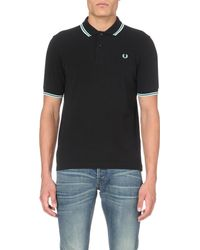 Fred Perry | Black Striped-trim Cotton-piqué Polo Shirt for Men | Lyst