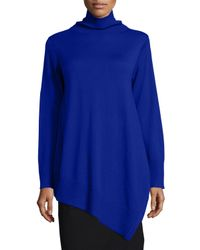 Eileen Fisher | Blue Long-sleeve Merino Asymmetric Turtleneck Tunic | Lyst