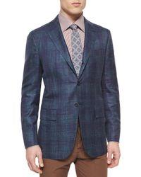Kiton - Blue Cashmere-blend Plaid Sport Coat for Men - Lyst