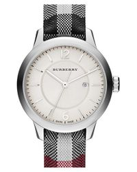 Burberry - Black Check Strap Watch - Lyst