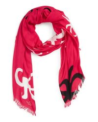 kate spade new york | Pink Bow Print Scarf | Lyst