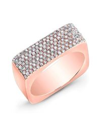 Anne Sisteron | Metallic 14kt Rose Gold Diamond Brick Ring | Lyst