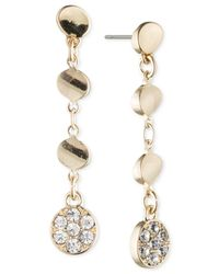 Anne Klein | Metallic Silver-tone Crystal Linear Disc Earrings | Lyst