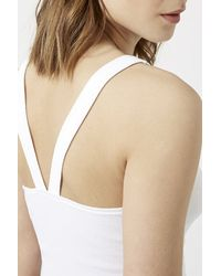 TOPSHOP - White Cross-back Halter Crop Top - Lyst