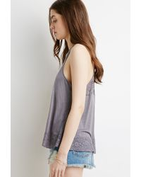Forever 21 - Gray Floral Lace-paneled Slub Tank - Lyst