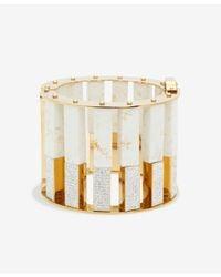 Lele Sadoughi - White Mega Pave Stone Column Slider Bracelet - Lyst