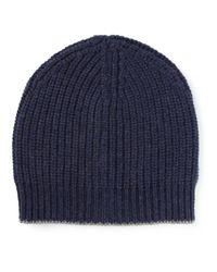 Brunello Cucinelli - Black Cashmere Ribbed Hat for Men - Lyst