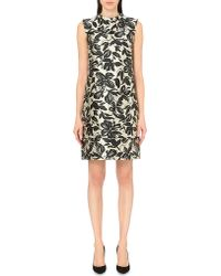 'S Max Mara | Black Lolly Floral-print Satin Dress | Lyst