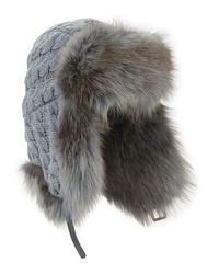 Inverni | Blue Cashmere Cable Trapper Hat W/fur Trim | Lyst