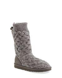 UGG | Gray 'blythe' Knit Boot | Lyst