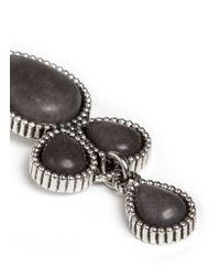 Philippe Audibert - Gray 'hupla' Milgrain Petal Stone Drop Earrings - Lyst