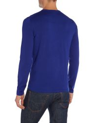HUGO | Blue Sidalio Plain Crew Neck Pull Over Jumpers for Men | Lyst