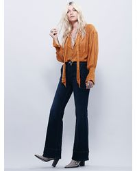 Free People - Blue From Every Angle Hi Waisted Bell - Lyst